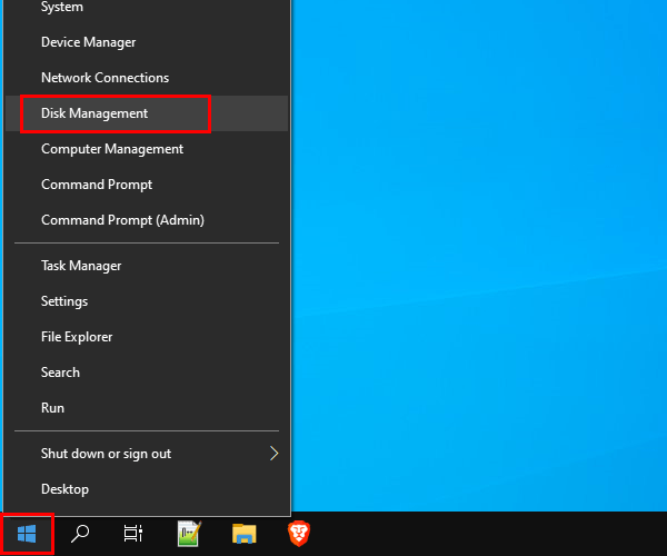 Open Disk Management in Windows 10