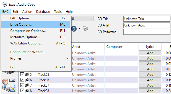 Open EAC drive options