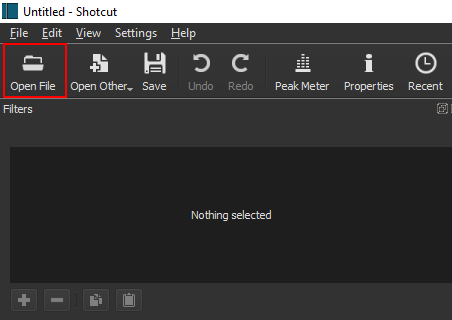 Open File button in Shotcut