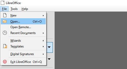 Open file menu entry in LibreOffice