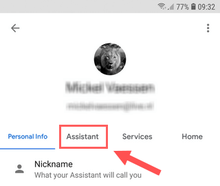 Open Google Assistant settings