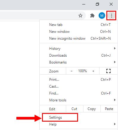 Open Google Chrome settings