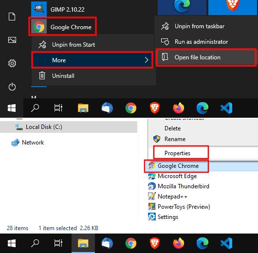 Open Google Chrome start menu shortcut properties
