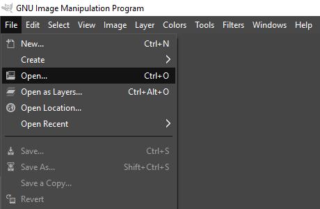 Open image in GIMP