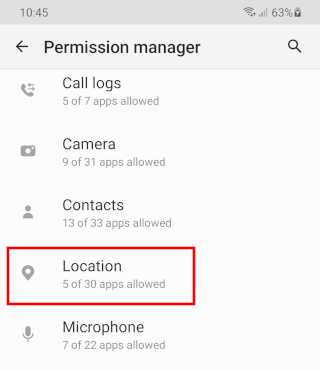 Open location app permissions on Android