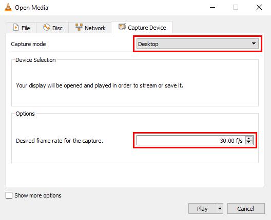 Open Media window in VLC media player