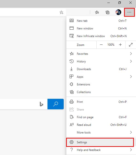 Open Microsoft Edge settings