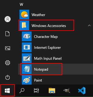 Open Notepad in Windows 10