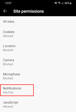 Open notifications settings in Microsoft Edge for Android