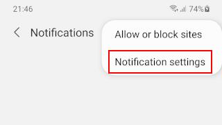 Open notifications settings in Samsung Internet