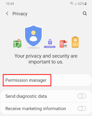 Open permission manager on Android