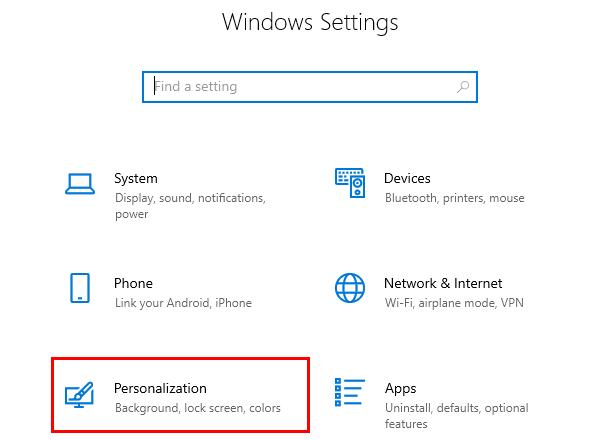 Open Personalization settings in Windows 10