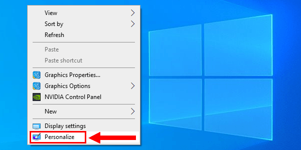 Open Personalization settings in Windows 10 via desktop