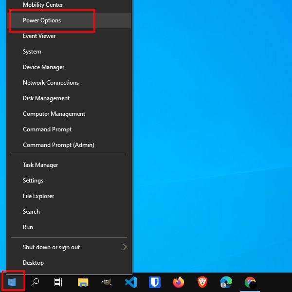 Open Power Options in Windows 10