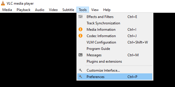 Open preferences in VLC media player