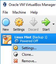 Open Settings of Linux Mint Virtual Machine in VirtualBox