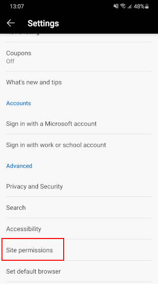 Open site permissions in Microsoft Edge for Android