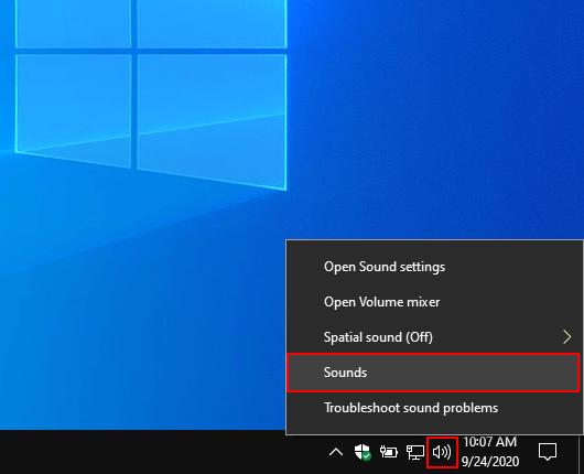 Open sound settings in Windows 10