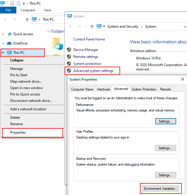 Open system environment variables settings in Windows 10