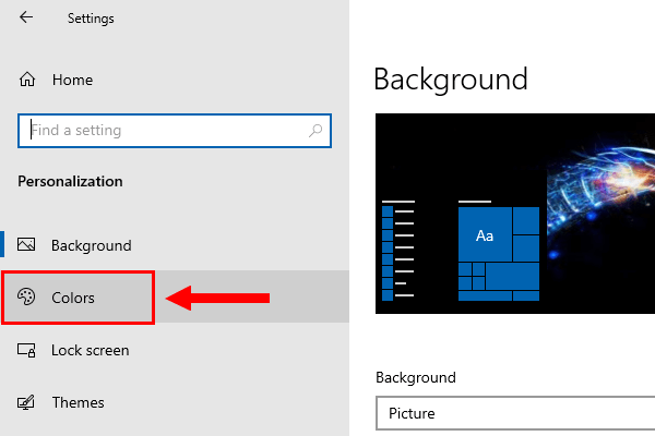 Open the colors settings in Windows 10