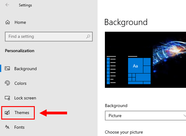 Open Themes settings in Windows 10