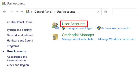 Open User Accounts settings in Windows 10