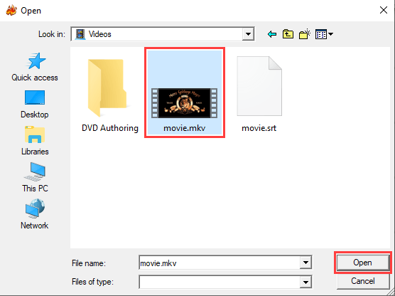 Open video file in WinX DVD Author