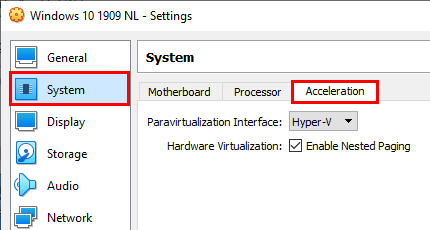 Open virtual machine acceleration settings in VirtualBox