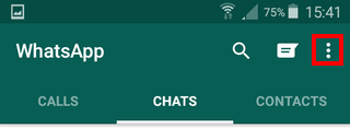 open whatsapp menu on android phone