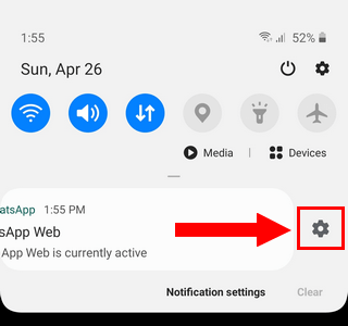 Open WhatsApp notifications settings from notifications panel