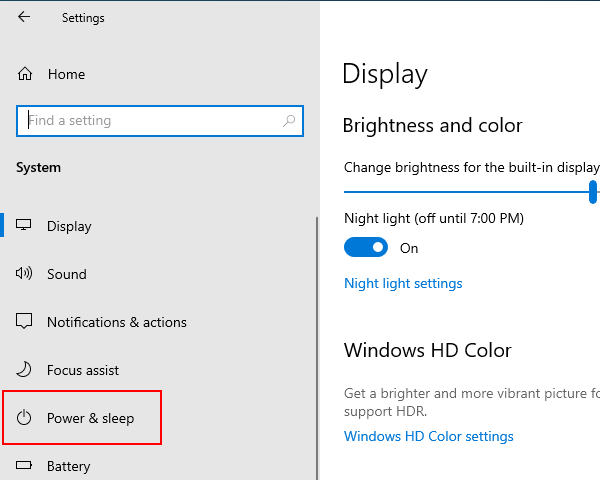 Open Windows 10 power and sleep settings