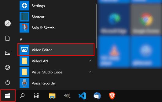 Open Windows 10 video editor