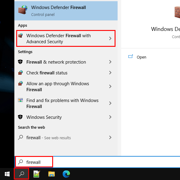 Open Windows Defender Firewall with Advanced Security via the search bar