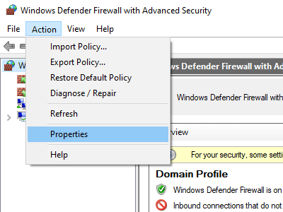 Open Windows Defender Firewall with Advanced Security Properties