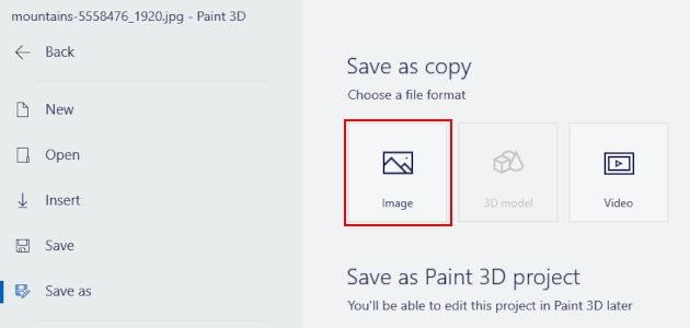 Paint 3D Save as copy image option