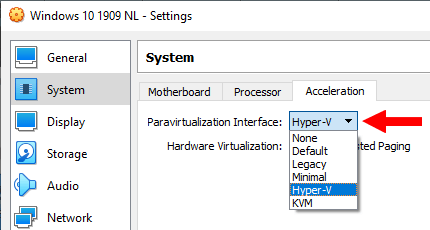Paravirtualization Interface setting in VirtualBox