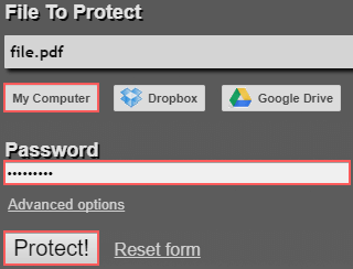 password protect a pdf online using pdfprotect