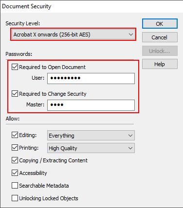 PDF security settings in Ashampoo PDF Free