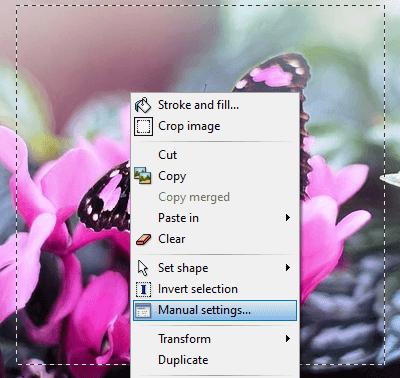 PhotoFiltre manual settings