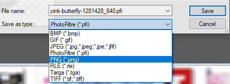 PhotoFiltre select PNG as file type