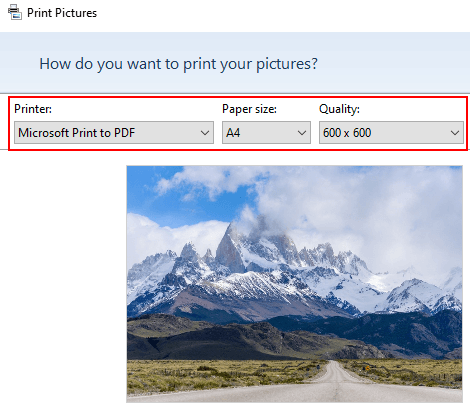 Print pictures settings in Windows 10
