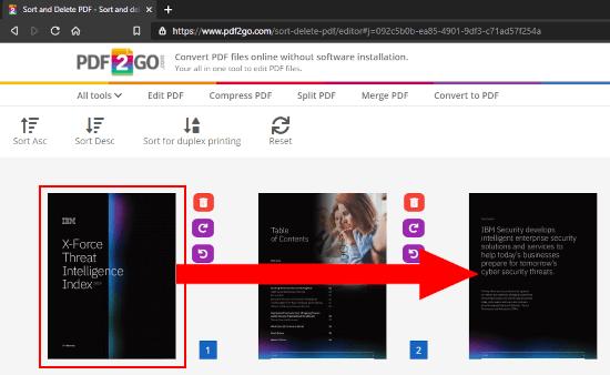 Rearrange pages in a PDF file online on PDF2GO