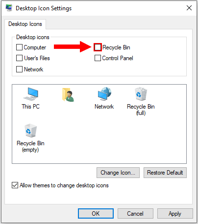 Remove the Recycle Bin icon from the desktop in Windows 10