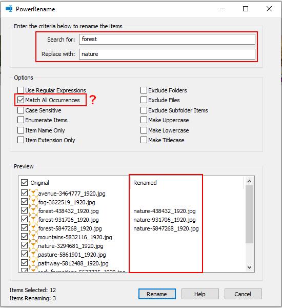 Rename multiple files at once in Windows 10 using PowerRename