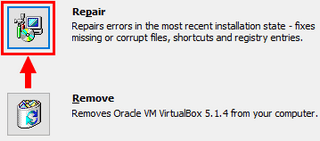 repair virtualbox installation