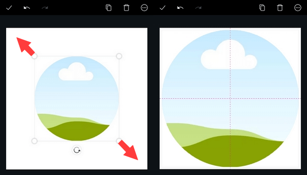 Resize round frame in Canva app