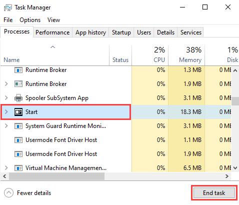 Restart Windows Start menu process