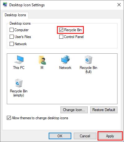 Restore the Recycle Bin on the desktop in Windows 10