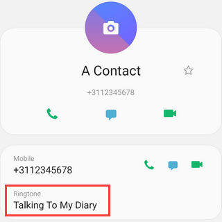 Ringtone for specific contact on Samsung Galaxy Android 9