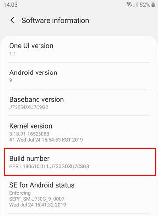 Samsung Galaxy Build number